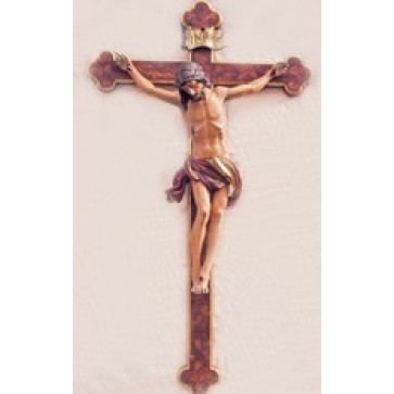 Wood Carved Corpus on Baroque Style Cross
