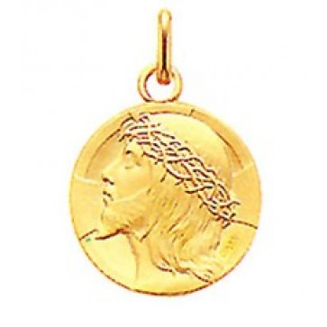 18K Gold Jesus with Crown of Thorns Medal