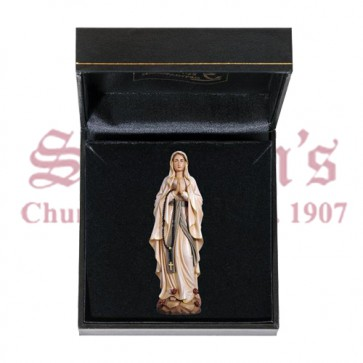 Our Lady of Lourdes Mini Wood Carve with Case
