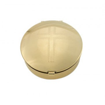 Pyx with engraved cross on gold plated lid