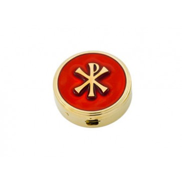 Pyx with large Chi-Rho on enameled red cover