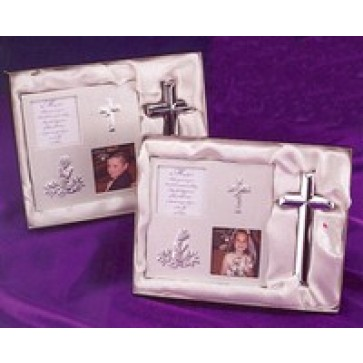 First Communion Satin Metal Frame