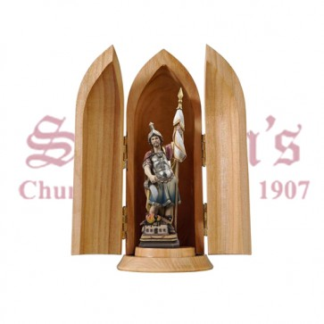 St. Florian In Niche Wood Carve Statue
