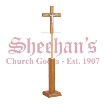 Processional Crucifix - Medium Oak