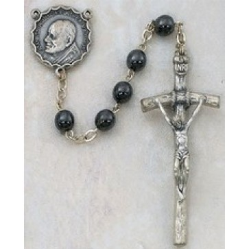 Hematite Rosary with Papal Crucifix