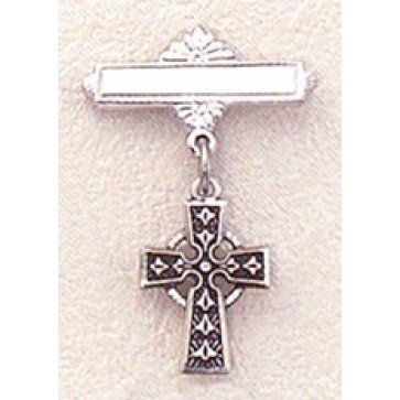Sterling Celtic Cross with Bar Pin