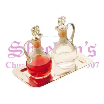 Glass Cruet with Stainless Steel Tray