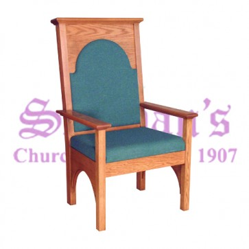 Solid Oak Celebrant Chair with Upholstered Seat and Back