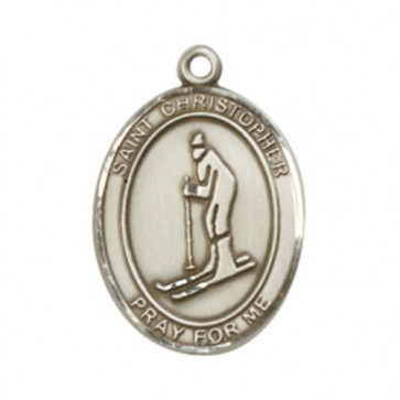 St. Christopher / Skiing Large Pendant