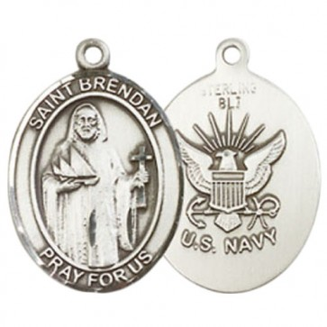 St. Brendan the Navigator / Navy Medium Pendant