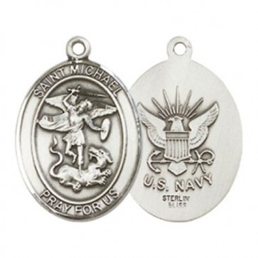 St. Michael / Navy Medium Pendant