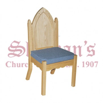 Solid Oak Side Chair with Plain Back