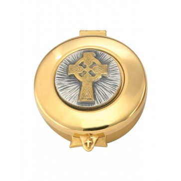 Pyx with gold/silver Celtic Cross raised on lid