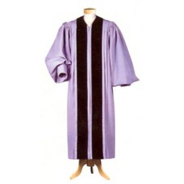 Gray Liberty Pulpit Robe with Black Velveteen Panel