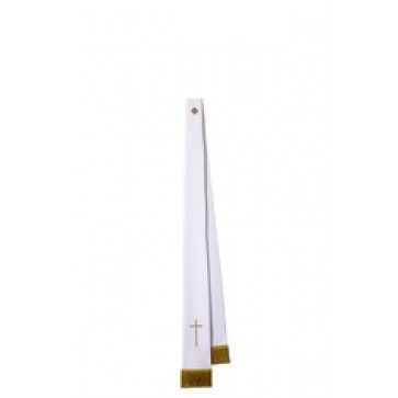 White Benediction Stole with Gold Cross