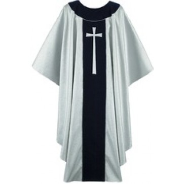 Silver and Navy Chasuble with Silver Latin Cross