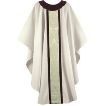 Cream and Wine Velvet Chasuble with Cream Brocade Panel
