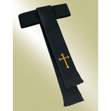 Black Band Cincture with Gold Cross