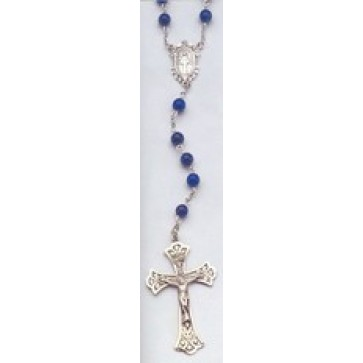 Sterling Silver Lapis Rosary Beads