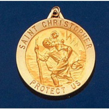Saint Christopher Round 14k Gold Medal