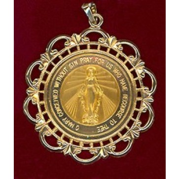 14k Gold Miraculous Medal with Filagree