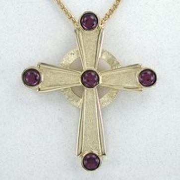 Celtic Cross with 5 Amethyst Stones