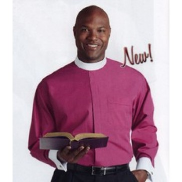 NEW Fuchsia Neckband Clergy Shirt with White Cuffs