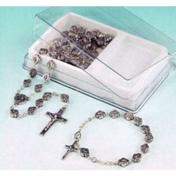 Saint Benedict Silver Rosary with Matching Bracelet