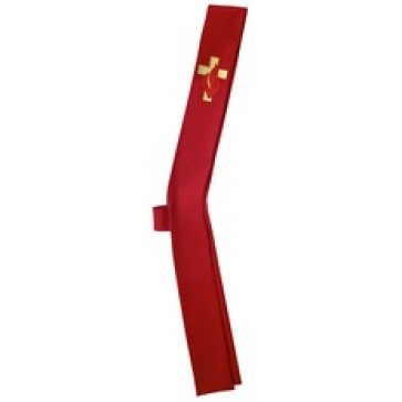Clergy Stole with Cross and Flame on Red