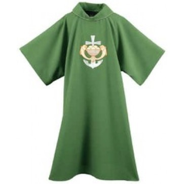 Fish, Loaves and Anchor Cross on Green Dalmatic
