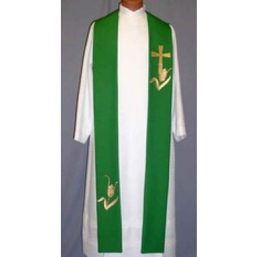 Gold Jubilee Cross with Gold Wheat Clergy Stole