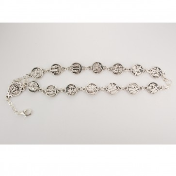 Silver Oxidized Stations of The Cross Bracelet