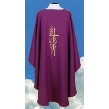 Chasuble with Cross Wheat and Alpha Omega