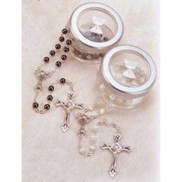 First Communion Rosary with See Through Box