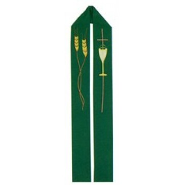 Green Stole with Wheat, Cross and Chalice Design