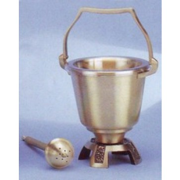 Holy Water Pot and Sprinkler in Satin Finish