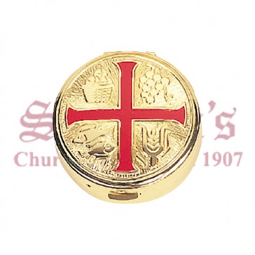 Pyx with Red Enamel Cross and Burse