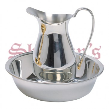 Ewer and Bas in Polished Pewter