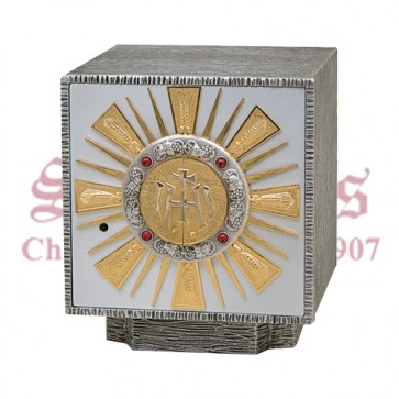 Oxidized Silver with Gold Rays Tabernacle