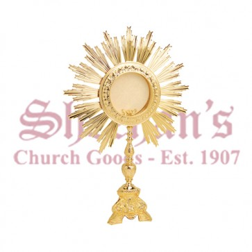 Gold Plated Monstrance with Ornamented Base