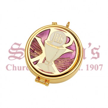 Gold Plate Pyx with Enameled Emblem on Cover