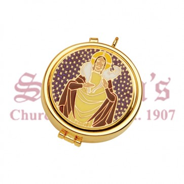 Gold Plate Pyx with Good Shepherd Design on Cover