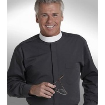 Men's Long Sleeve Banded Collar Clergy Shirt