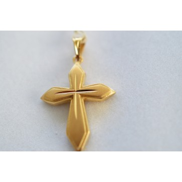 14K Gold Cross with Etched Details