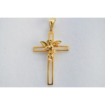 14K Gold Cross with Angel Center