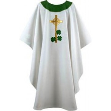 White with Gold Celtic Cross and Green Shamrocks Chasuble