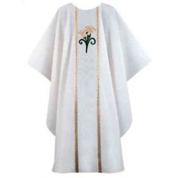 White Lilly with Galloon Gothic Chasuble