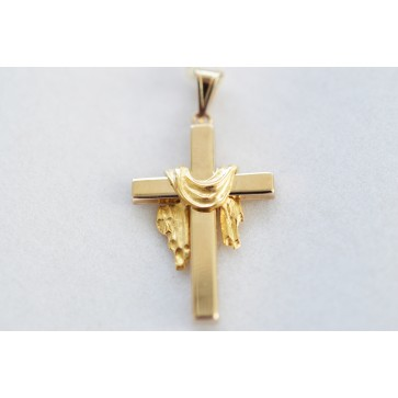 14K Gold White Robe Cross
