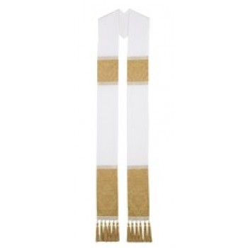 White Overlay Stole with Gold Trenton and White/Gold Galloon Band