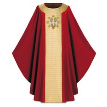 Red Chasuble with Hand Embroidered Holy Spirit